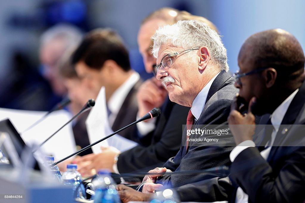 President of the United Nations General Assembly Mogens Lykketoft (2nd R) attends the Midterm Review of the Istanbul Programme of Action at Titanic Hotel in Antalya, Turkey on May 27, 2016. The Midterm Review conference for the Istanbul Programme of Action for the Least Developed Countries takes place in Antalya, Turkey from 27-29 May 2016. The conference will undertake a comprehensive review of the implementation of the Istanbul Programme of Action by the least developed countries (LDCs) and their development partners and likewise reaffirm the global commitment to address the special needs of the LDCs.