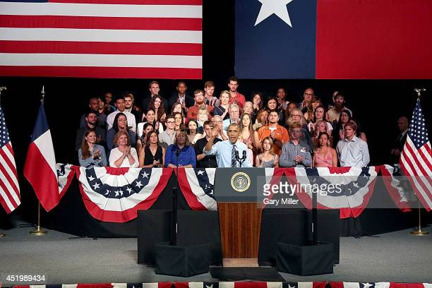 President of the United States Barack Obama speaks on stage at the Paramount Theatre on July 10 2014 in Austin Texas