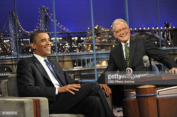 President of the United States Barack Obama talks to Dave when he visits the Late Show with David Letterman on Monday September 21 2009 on the CBS...