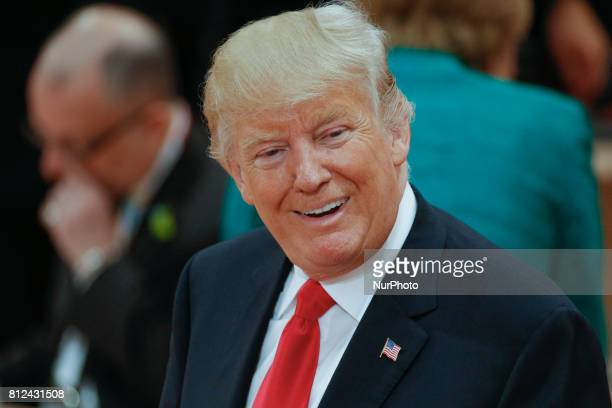 President of the United States Donald Trump is seen ahead of the thrid plenary session of the G20 summit on 8 July 2017 in Hamburg Germany