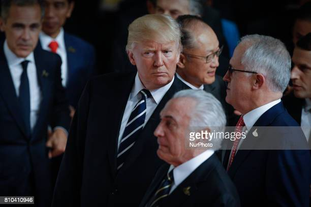 President of the United States Donald Trump is seen speaking with prime minister of Australia Malcolm Turnbull at the welcoming ceremony for guest...