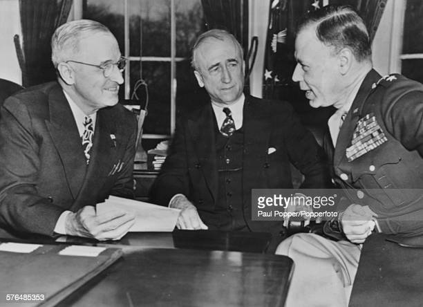 President of the United States Harry S Truman talks with Lt Gen Walter Bedell Smith the US Ambassador the the Soviet Union and US Secretary of State...