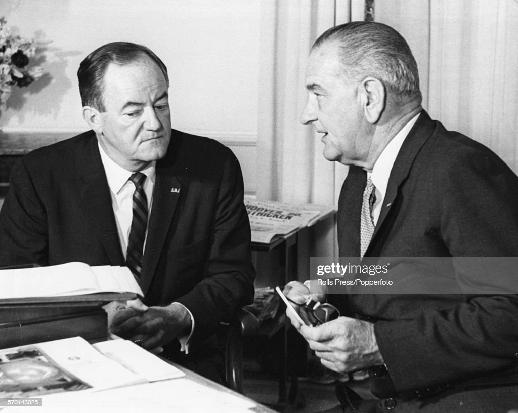 President of the United States, Lyndon B Johnson (right) discusses the upcoming presidential campaign with his running mate, Senator <a gi-track='captionPersonalityLinkClicked' href=/galleries/search?phrase=Hubert+Humphrey&family=editorial&specificpeople=91105 ng-click='$event.stopPropagation()'>Hubert Humphrey</a> at the White House in Washington DC, October 19th 1964.