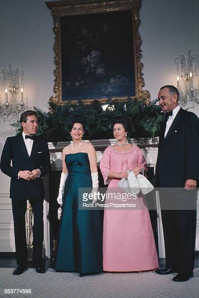 President of the United States Lyndon Baines Johnson stands on right with Princess Margaret his wife Lady Bird Johnson and on left Antony...