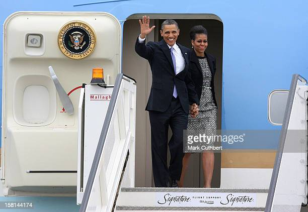 President Of The United States Of America Barack Obama And First Lady Michelle Obama Pictured At Dublin Airport As They Arrive In Dublin On Their...