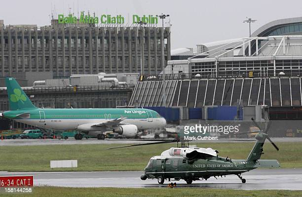 President Of The United States Of America Barack Obama And First Lady Michelle Obama Take Off In Marine One From Dublin Airport On Their Visit To...