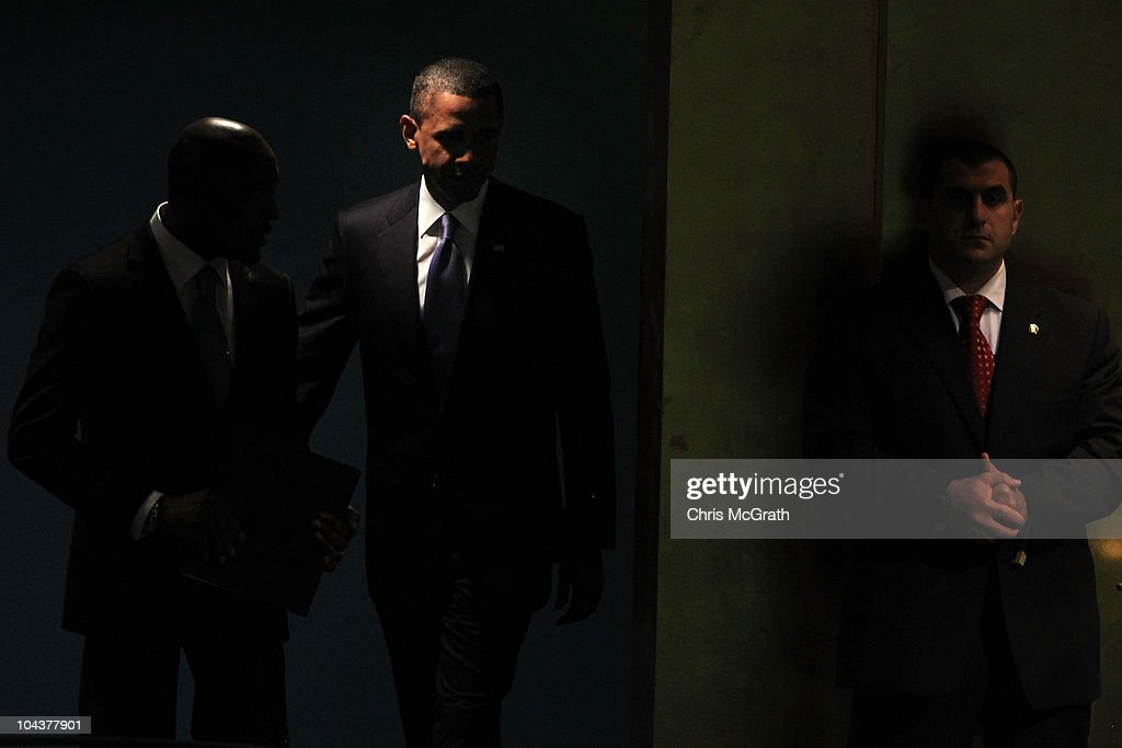 President of the United States of America, <a gi-track='captionPersonalityLinkClicked' href=/galleries/search?phrase=Barack+Obama&family=editorial&specificpeople=203260 ng-click='$event.stopPropagation()'>Barack Obama</a> arrives to address the 65th session of the General Assembly at the United Nations on September 23, 2010 in New York City. Leaders and diplomats from around the world are in New York City for the United Nations yearly General Assembly.
