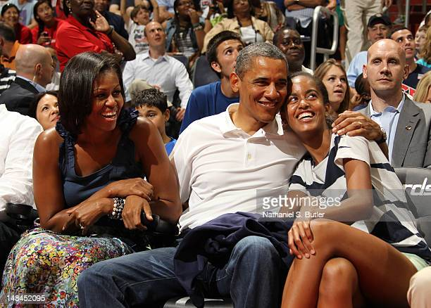 President of the United States of America Barack Obama with First Lady Michelle Obama and their daughter Malia Obama at the 2012 US Men's Senior...