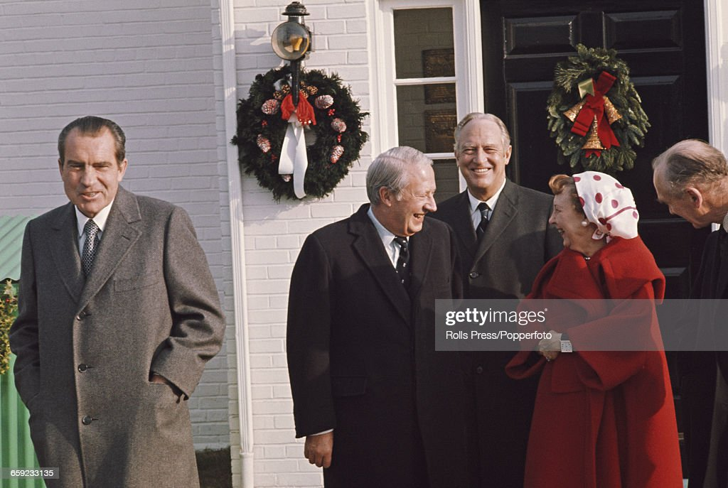 President of the United States Richard Nixon pictured left with Prime Minister of the United Kingdom Edward Heath Secretary of State William P Rogers...