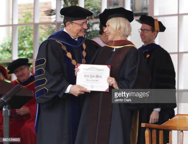 President of the University of Southern California CL Max Nikias presents Helen Mirren with an Honorary Doctorate Degree during the University Of...