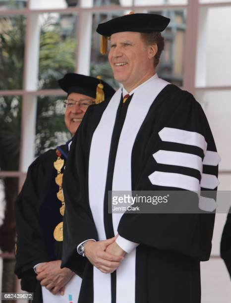 President of the University of Southern California CL Max Nikias presents Will Ferrell with an Honorary Doctorate Degree during the University Of...