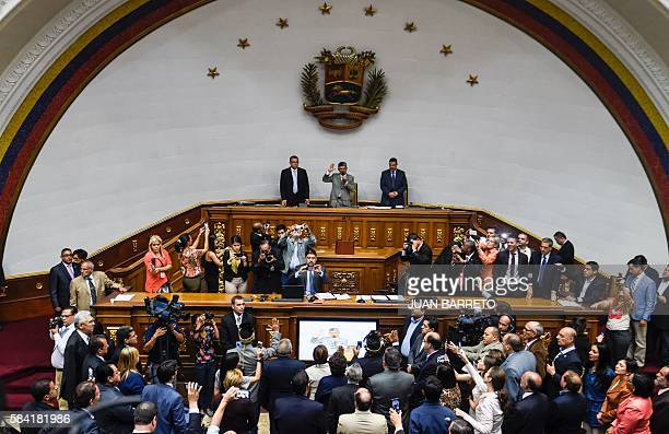 President of the Venezuelan National Assembly Henry Ramos Allup takes oath of opposition Deputies of Amazonas state Nirma Guaruya Julio Ygarza y...