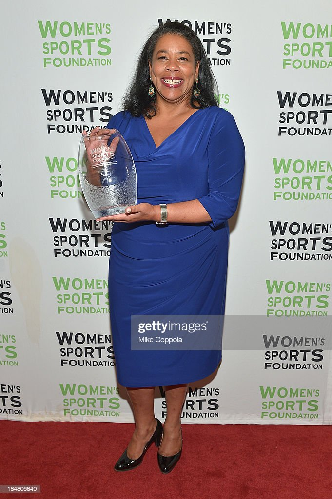 President of the WNBA Laurel Richie with the Billie Jean King Contribution Award during the 34th annual Salute to Women In Sports Awards at Cipriani, Wall Street on October 16, 2013 in New York City.