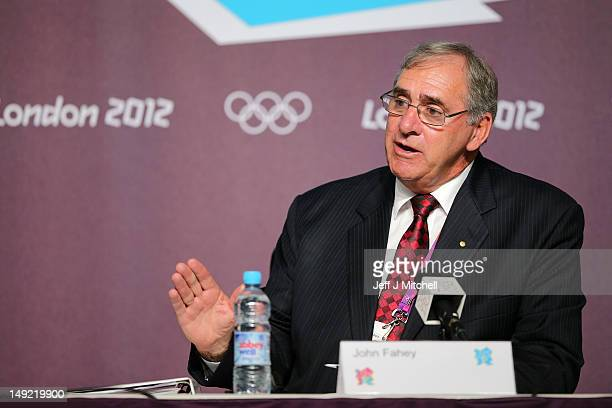 President of the World AntiDoping Agency John Fahey speaks during a World Anti Doping Agency Briefing ahead of the 2012 London Olympic Games at the...