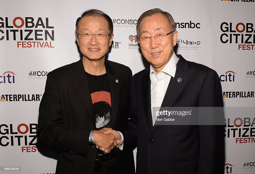 President of the World Bank Jim Yong Kim and UN Secretary General Ban KiMoon and attends the 2014 Global Citizen Festival to end extreme poverty by...