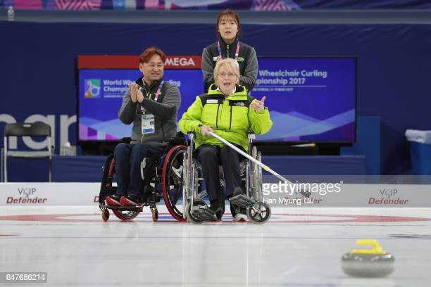President of the World Curling Federation Kate Caithness Experience Wheelchair Curling during the PyeongChang 2018 Paralympic Day and Opening of the...