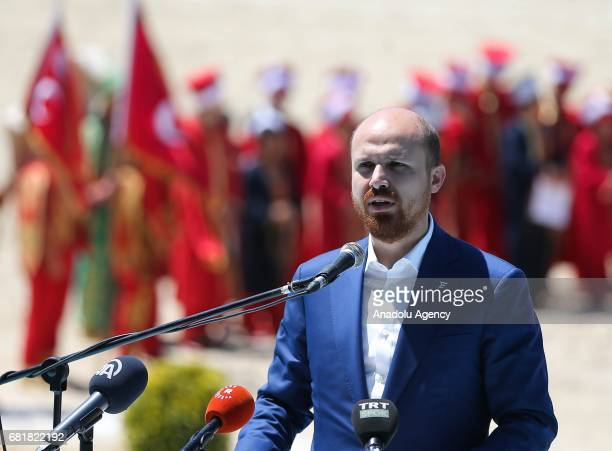 President of the World Ethnosport Confederation Bilal Erdogan speaks during the Ethnosports Culture Festival which takes place at Yenikapi Square in...
