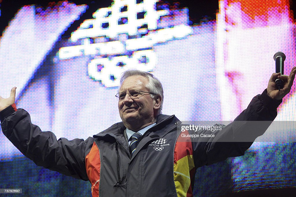 President of TOROC (Turin Olympic Committee) Valentino Castellani gestures on stage at the One year after the Olympic Games cermony in Piazza Castello on Febrary 10, 2007 in Turin, Italy.