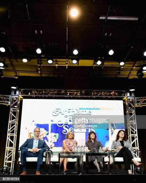 President of truTV Chris Linn Creator/actor Amy Sedaris writer/producer Jodi Lennon and producer Cindy Caponera of 'At Home With Amy Sedaris' speak...