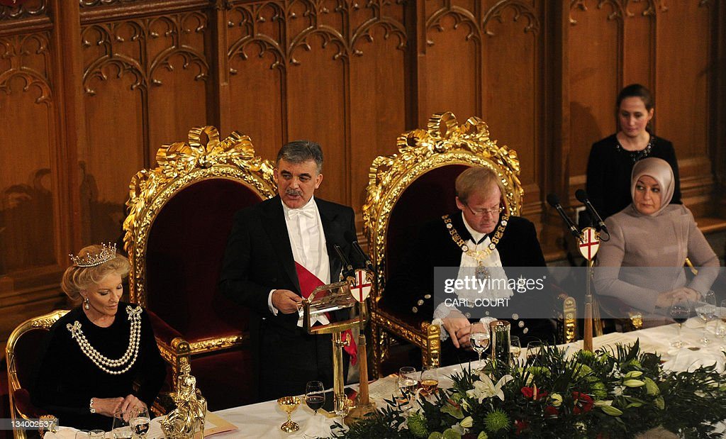 President of Turkey Abdullah Gul (2ndL) speaks at the Guildhall in London, on November 23, 2011, as his wife, Hayrunnisa (R), the Lord Mayor of the City of London David Wootton (2ndR) and Princess Michael of Kent (L) listen during a State Banquet in his honour. Syria has reached a 'point of no return' as the regime steps up violence against pro-democracy demonstrators, Turkish President Abdullah Gul warned in a speech earlier today.