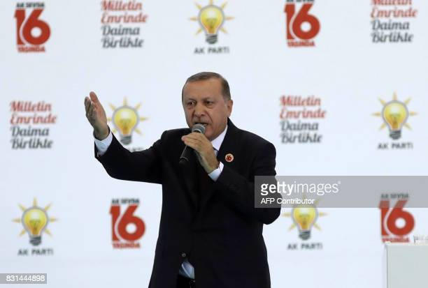 President of Turkey and Chairman of the Turkey's ruling Justice and Development Party Recep Tayyip Erdogan delivers a speech during the 16th...