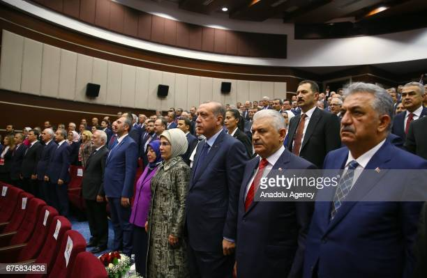 President of Turkey Recep Tayyip Erdogan along with Emine Erdogan Prime Minister of Turkey Binali Yildirim and his wife Semiha Yildirim is seen...