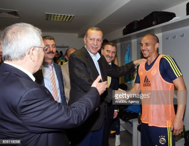 President of Turkey Recep Tayyip Erdogan and Chairman of Fenerbahce Aziz Yildirim congratulate footballers of Fenerbahce after the UEFA Europa League...