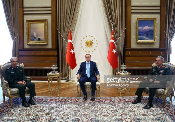 President of Turkey Recep Tayyip Erdogan and General Staff of the Armed Forces of of Turkey Hulusi Akar meet with General Staff of the Armed Forces...