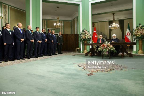 President of Turkey Recep Tayyip Erdogan and Iranian President Hassan Rouhani hold a joint press conference after their meeting at the Saadabad...