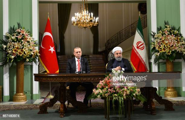 President of Turkey Recep Tayyip Erdogan and President of Iran Hassan Rouhani hold a joint press conference following the interdelegation meeting in...