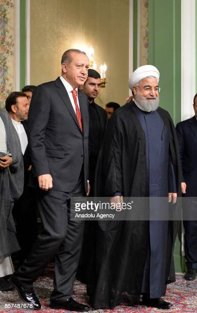 President of Turkey Recep Tayyip Erdogan and President of Iran Hassan Rouhani arrive to hold a joint press conference following an interdelegation...