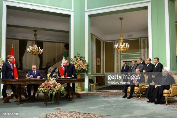 President of Turkey Recep Tayyip Erdogan and President of Iran Hassan Rouhani hold a joint press conference following an interdelegation meeting in...