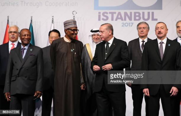 President of Turkey Recep Tayyip Erdogan and President of Nigeria Muhammed Buhari President of Azerbaijan Ilham Aliyev and President of Guinea Alpha...
