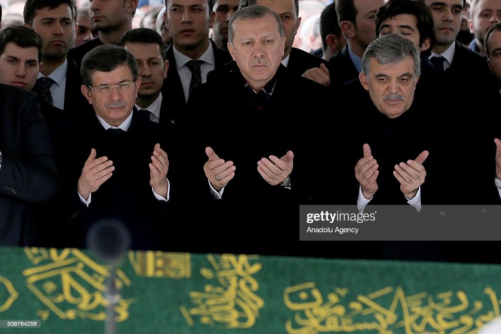 President of Turkey Recep Tayyip Erdogan (C) and Prime Minister of Turkey Ahmet Davutoglu (L) attend a funeral, held at the Mosque of Marmara University Theology Faculty for Ahmet Ozyurt, Turkey's 11th President Abdullah Gul's (4th L) father-in-law, in Istanbul, Turkey on February 12, 2016 .