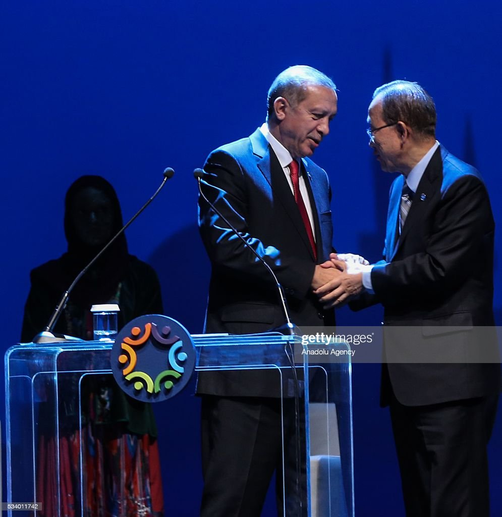 President of Turkey Recep Tayyip Erdogan (L) and Secretary-General of the United Nations Ban Ki-moon (R) shake hands during the closing ceremony of World Humanitarian Summit at Istanbul Congress Center, in Istanbul, Turkey on May 24, 2016.