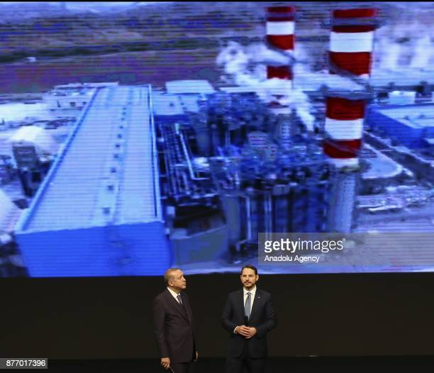 President of Turkey Recep Tayyip Erdogan and Turkish Energy and Natural Resources Minister Berat Albayrak attend a mass inauguration ceremony...