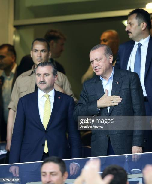 President of Turkey Recep Tayyip Erdogan and Turkish Youth and Sports Minister Osman Askin Bak attend the UEFA Europa League third qualifying round...