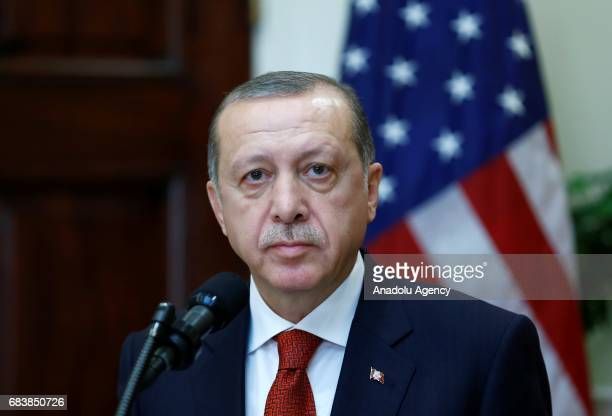 President of Turkey Recep Tayyip Erdogan and US President Donald Trump hold a joint press conference after their meeting at the Oval Office of the...