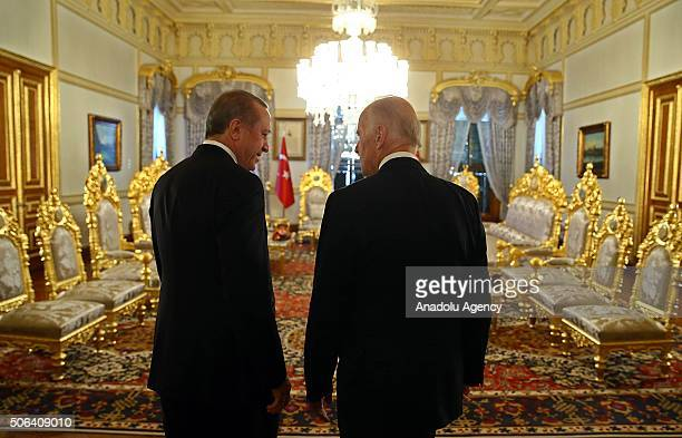President of Turkey Recep Tayyip Erdogan and Vice President of the United States Joe Biden meet at historical Mabeyn Palace in Yildiz Palace Complex...