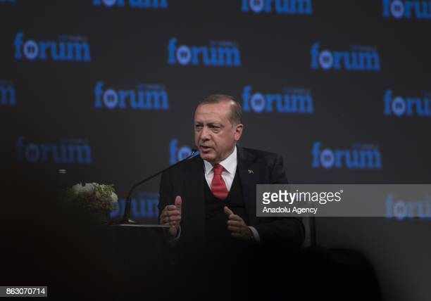 President of Turkey Recep Tayyip Erdogan answers the questions of TRT World's News Coordinator Fatih Er during the International TRT World Forum at...