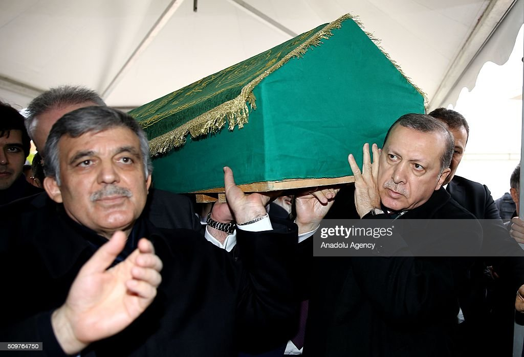 President of Turkey Recep Tayyip Erdogan (R) attend a funeral, held at the Mosque of Marmara University Theology Faculty for Ahmet Ozyurt, Turkey's 11th President Abdullah Gul's (L) father-in-law, in Istanbul, Turkey on February 12, 2016 .