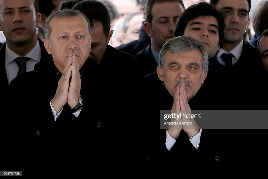 President of Turkey Recep Tayyip Erdogan (L) attends a funeral, held at the Mosque of Marmara University Theology Faculty for Ahmet Ozyurt, Turkey's 11th President Abdullah Gul's (4th L) father-in-law, in Istanbul, Turkey on February 12, 2016 .