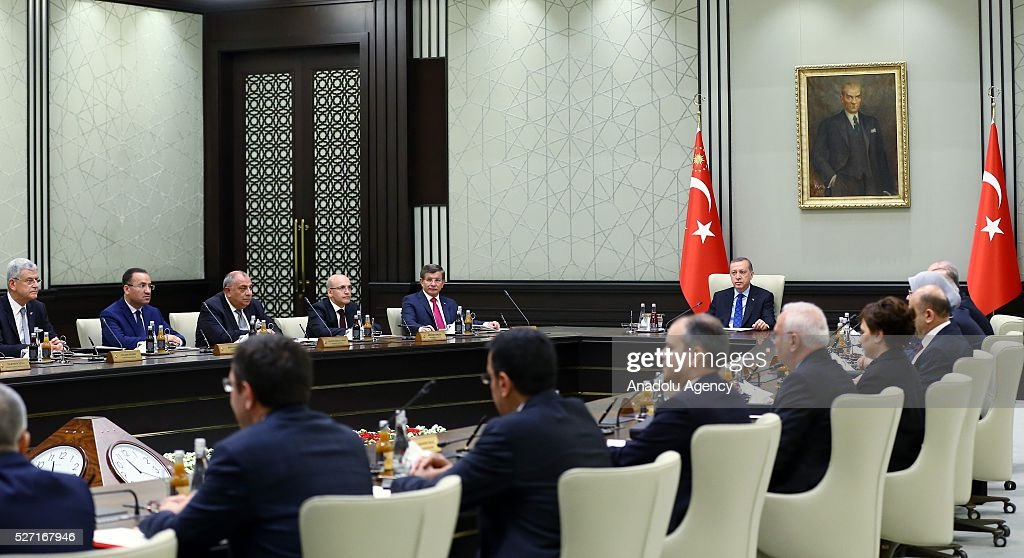 President of Turkey, Recep Tayyip Erdogan (C) chairs a cabinet meeting at Presidential Complex, in Ankara, Turkey on May 2, 2016.