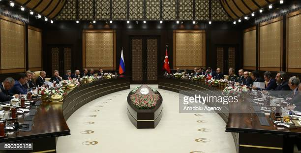 President of Turkey Recep Tayyip Erdogan chairs an interdelegation meeting with Russian President Vladimir Putin at Presidential Complex in Ankara...