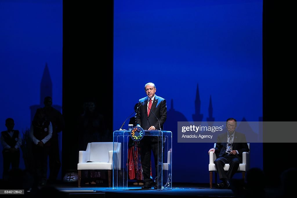 President of Turkey Recep Tayyip Erdogan delivers a speech as Secretary-General of the United Nations Ban Ki-moon (R) listens to him in the background during the closing ceremony of World Humanitarian Summit at Istanbul Congress Center, in Istanbul, Turkey on May 24, 2016.