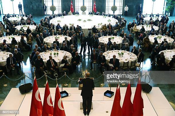 President of Turkey Recep Tayyip Erdogan delivers a speech during a meeting with Istanbul Friendship Association at the presidential palace in Ankara...