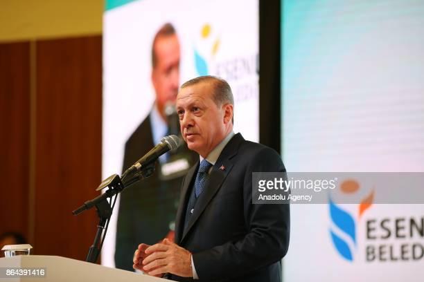 President of Turkey Recep Tayyip Erdogan delivers a speech during International City and Civil Society Organizations Summit at Yildiz Technical...