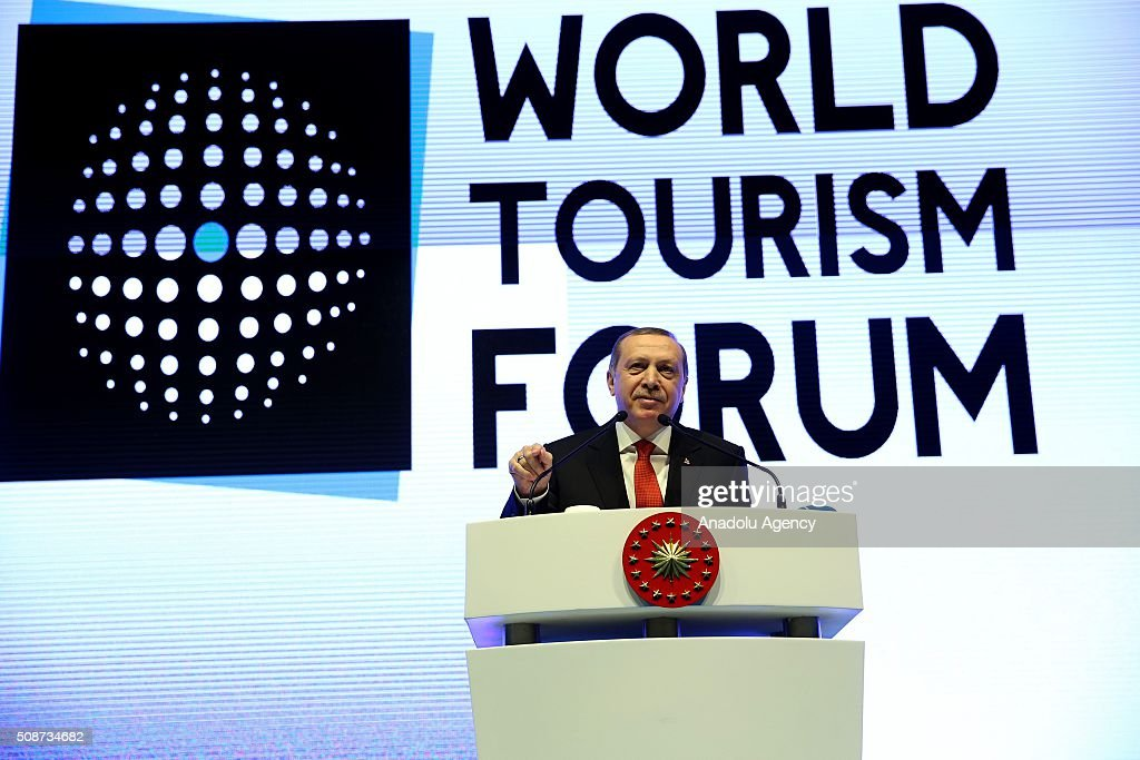 President of Turkey Recep Tayyip Erdogan delivers a speech during the closing session of World Tourism Forum in Istanbul, Turkey on February 6, 2016.