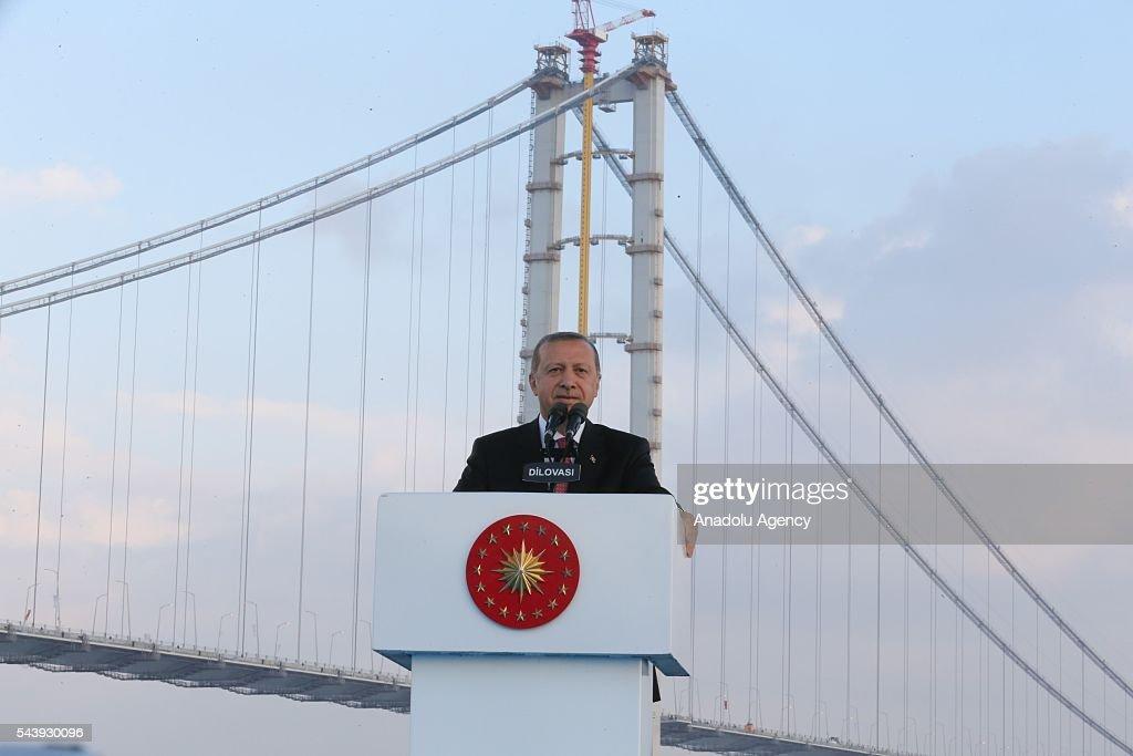 President of Turkey, Recep Tayyip Erdogan delivers a speech during the opening ceremony of Osmangazi Bridge in Kocaeli, Turkey on June 30, 2016. Osmangazi Bridge is the fourth-longest suspension bridge in the world and second-longest bridge in Europe.