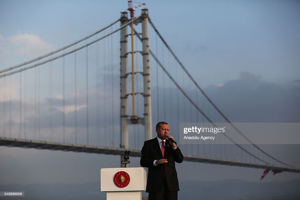 President of Turkey, Recep Tayyip Erdogan delivers a speech during the opening ceremony of Osmangazi Bridge in Kocaeli, Turkey on June 30, 2016. Osmangazi Bridge is the fourth-longest suspension bridge in the world and second-longest bridge in Europe.